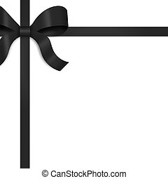 Ribbon with Black Satin Bow - Illustration of black satin...