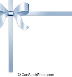 Gift Ribbon with Blue Satin Bow - Illustration of blue satin...