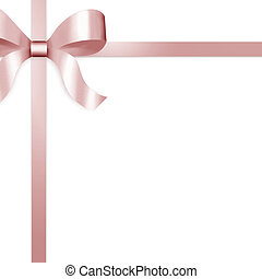 Gift Ribbon with Pink Satin Bow - Illustration of pale pink...