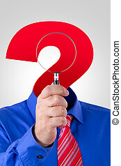 Question Mark Headed Man Holding Magnifying Glass -...