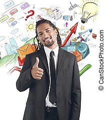 Professional growth - Businessman satisfied and happy for...