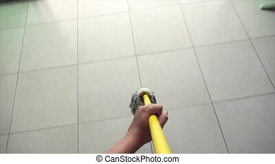 Woman Doing Chores Washing Floor