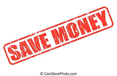 Save money red stamp text on white