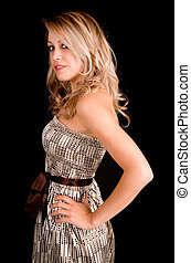 Beautiful Blonde Lady in a Beige Dress - A beautiful young...