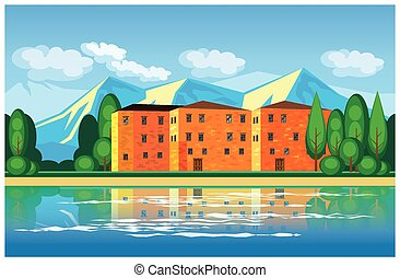 mediterranean mansion - Stylized vector illustration on the...