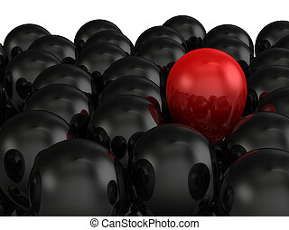 Red Balloon Among Black - Outstanding concept, red balloon...