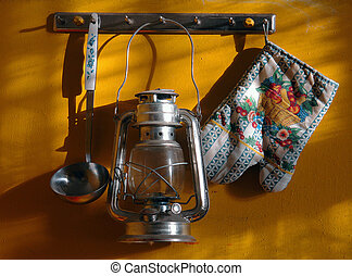 kitchen utensils hanging on the wall - kitchen utensils and...