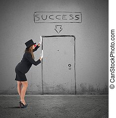 Mime businesswoman success - Mime businesswoman imagines her...