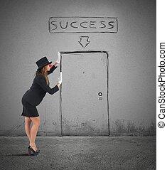 Mime businesswoman success - Mime businesswoman imagines her...