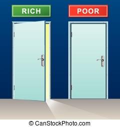 rich and poor doors concept