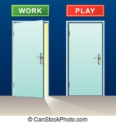 work and play doors concept - illustration of work and play...