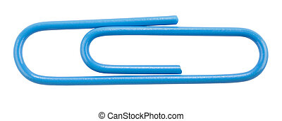 blue paper clip - one blue paper clip on a white background