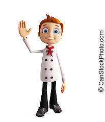 Chef character with saying hi pose - 3d illustration of chef...