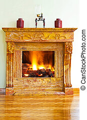 Fireplace - Interior with luxurious yellow marble fire place...