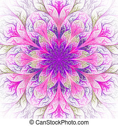 Beautiful fractal flower in purple and pink. Computer...