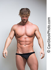 Sexy very muscular male model in underwear - Sexy portrait...