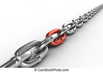 Chrome chain with a cooper link on white background