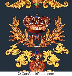 Heraldic seamless wallpaper pattern - Seamless wallpaper...