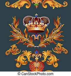 Heraldic seamless wallpaper pattern with fleur de lis and...