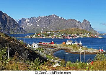 Norway village with mountain - Lofoten, Reine