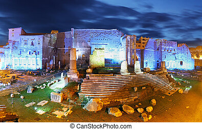 Panoramic view on Trajans Market, Forum Romanum, Rome