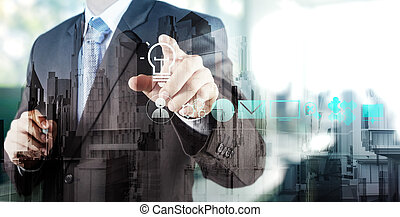businessman hand touching creative business strategy with light