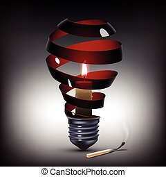 light bulb with candle - surreal spiral black light bulb...