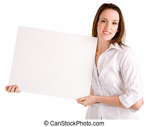 Young Woman Holding a Blank White Sign - A beautiful young...