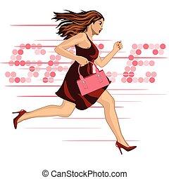 woman run to sale