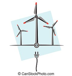 Wind Turbines with plugin socket and wire. Wind Energy...