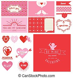 Scrapbook Design Set - Valentine's Day Hearts - in vector