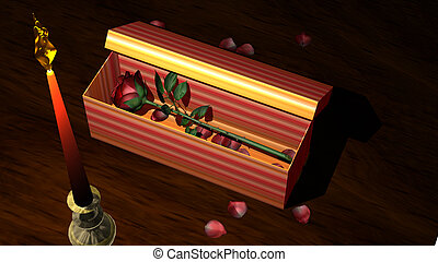 Red Rose in Gift Box with Candle and Flower Petals