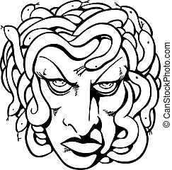 Medusa Line Art - Mythical medusa head drawing line art.