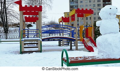 Snowman at Playground After Heavy Snowfall, Slider Shot,...