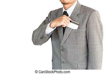 business man hold credit card isolated white background