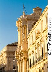Syracuse Duomo - Exterior of historic Duomo building in...