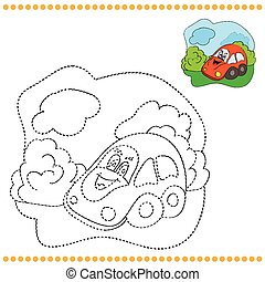 Connect the dots and coloring page - funny car