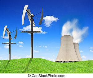 Green energy concept - Nuclear power plant and wind turbines...