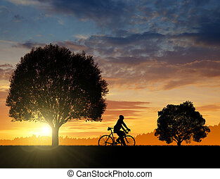 silhouette of the cyclist on bike at sunset
