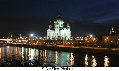 Cathedral of Christ the Savior in Moscow time lapse -...