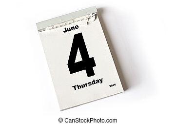 4 June 2015 - calendar sheet