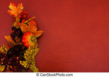 Fall Leaves - Fall coloured leaves making a border on a...
