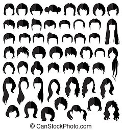 hair, vector hairstyle - woman nad man hair, vector...