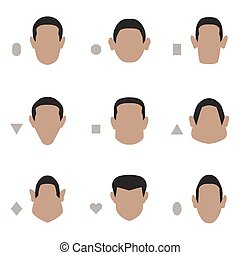 face shape, - set of flat face shape, vector people icon,...