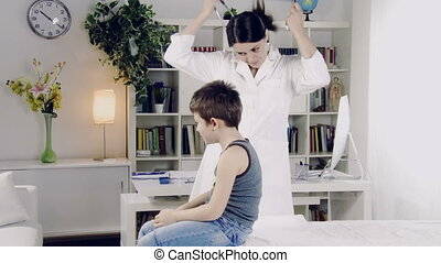 female doctor visiting child