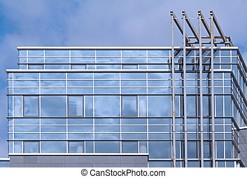 Glass facade - Modern building detail with blue glass facade