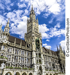New Town Hall in Munich - Exterior of the New Town Hall with...