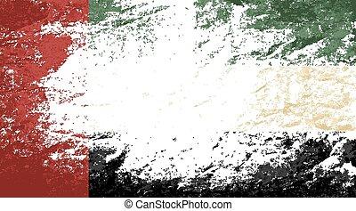 United Arab Emirates flag Grunge background. Vector...