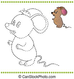 Connect the dots and coloring page - mouse