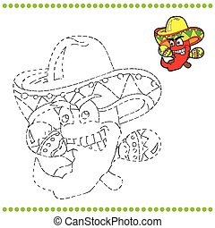Connect the dots and coloring page - Mexican pepper